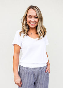 Bobi Smocked Hem T-Shirt White