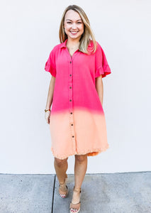 Linen Dip Dye Button Down Shirt Dress - Gabrielle's Biloxi
