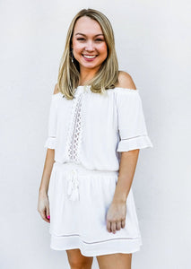 White Crochet Off Shoulder Dress - Gabrielle's Biloxi