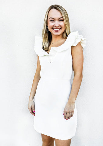 Ruffle Sleeve Detail Dress White - Gabrielle's Biloxi
