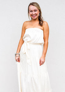 Tiered Strapless Maxi Dress Cream - Gabrielle's Biloxi