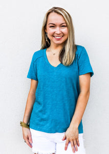 Bobi Short Sleeve V-Neck Top Tide - Gabrielle's Biloxi