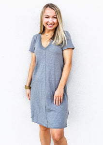 Bobi Short Sleeve V-Neck Dress Overcast - Gabrielle's Biloxi