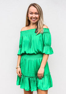 Off Shoulder Smocked Dress Green - Gabrielle's Biloxi