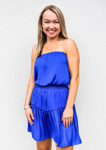 Tiered Smocked Strapless Dress Capri Blue - Gabrielle's Biloxi