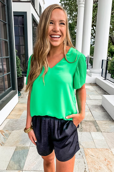 Green Pleated Sleeve Vneck Top - Gabrielle's Biloxi