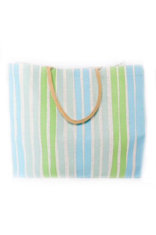 Jute Carryall Tote In Turquoise/Pastel Green - Gabrielle's Biloxi