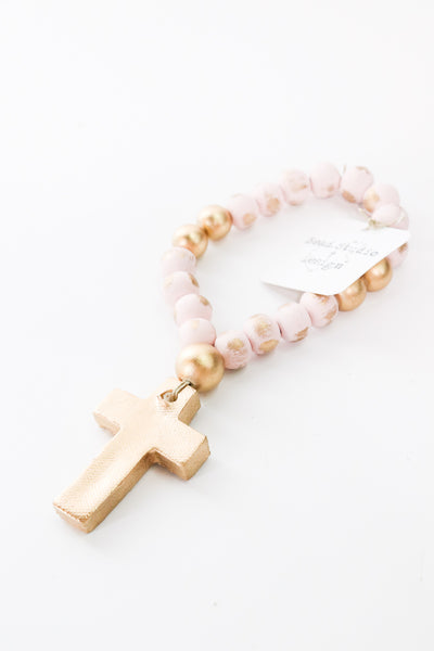 Pink Baby Blessing Beads with Cross - Gabrielle's Biloxi