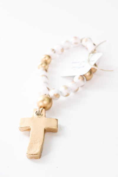 White Baby Blessing Beads with Cross - Gabrielle's Biloxi