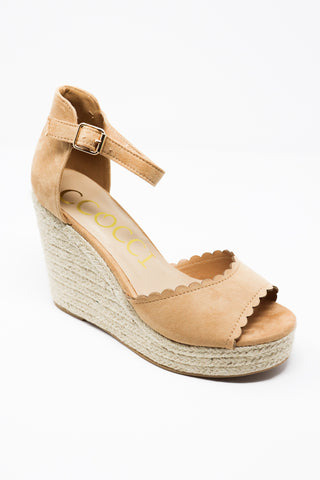 Tan Espadrille Wedge with Scalloped Edge - Gabrielle's Biloxi