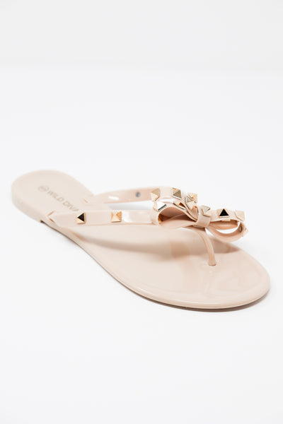 Nude Jelly Studded Bow Sandals - Gabrielle's Biloxi