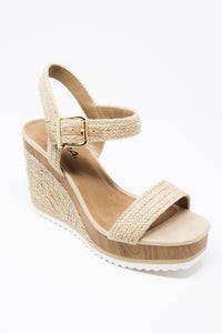 Natural Beige Espadrille Wedge Shoes - Gabrielle's Biloxi