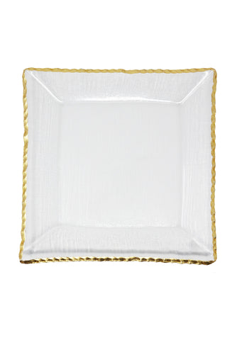 "Goldedge Handcrafted Crystal 11"" Square Platter - Gabrielle's Biloxi"