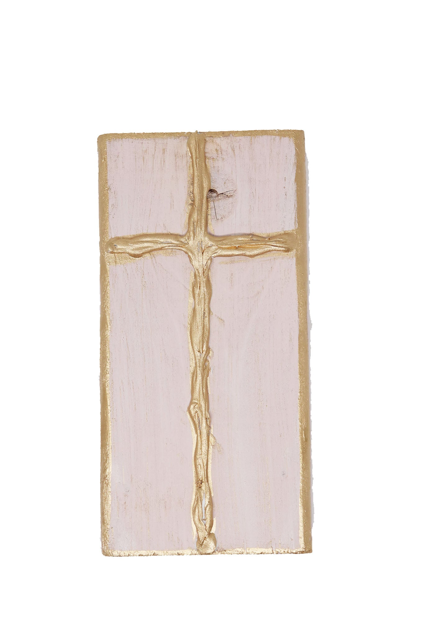 Pink Cross Wood Block - Gabrielle's Biloxi