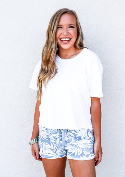 Soft Tropical Print Blue Burnout Shorts - Gabrielle's Biloxi