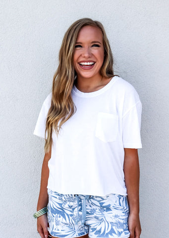 White Boxy Cropped Pocket Tee - Gabrielle's Biloxi