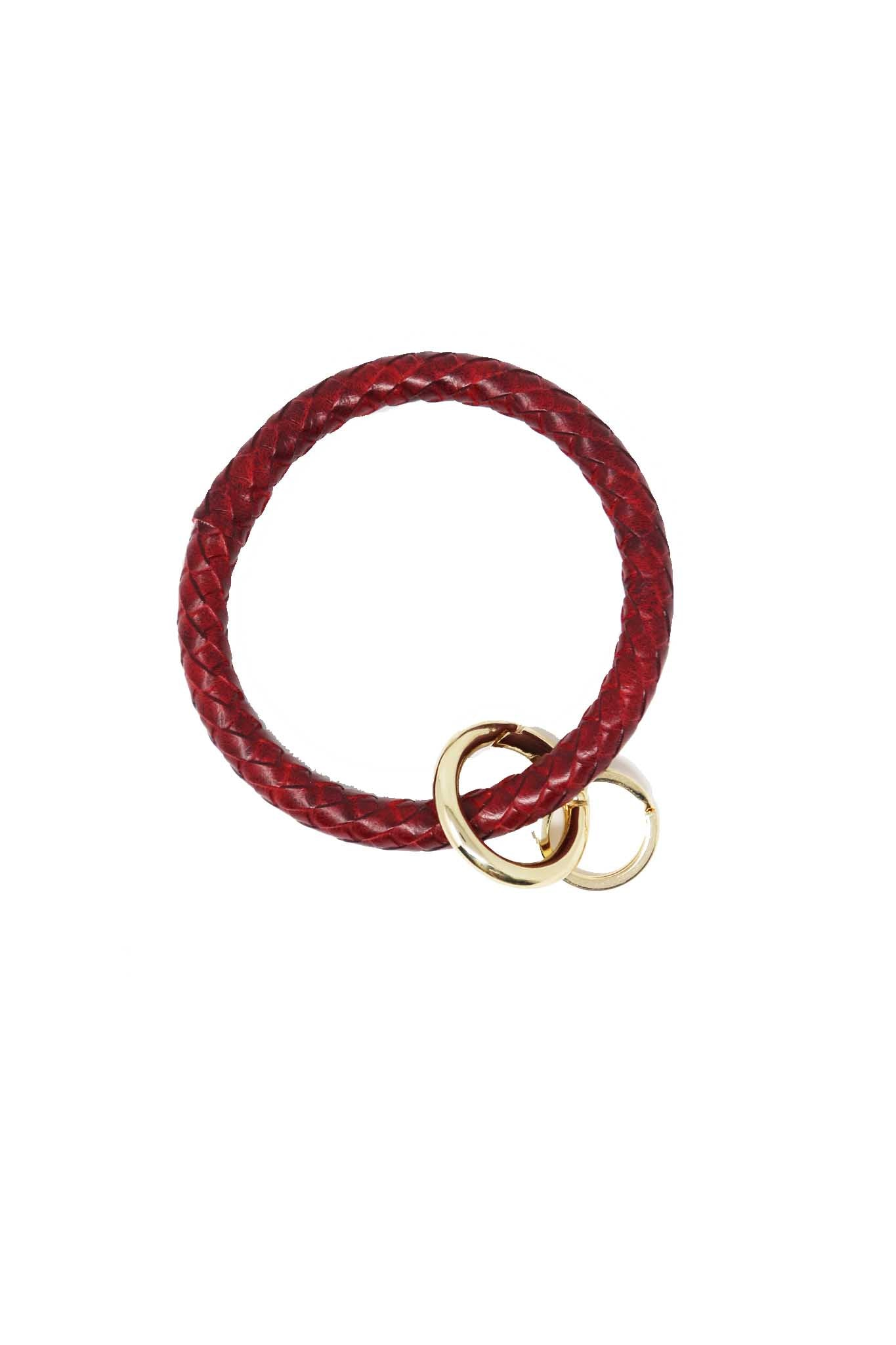 Red Leather Ring Keychain - Gabrielle's Biloxi
