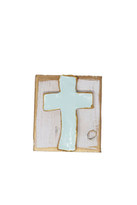 "Mint Clay Cross Block Art 4""x4"" - Gabrielle's Biloxi"