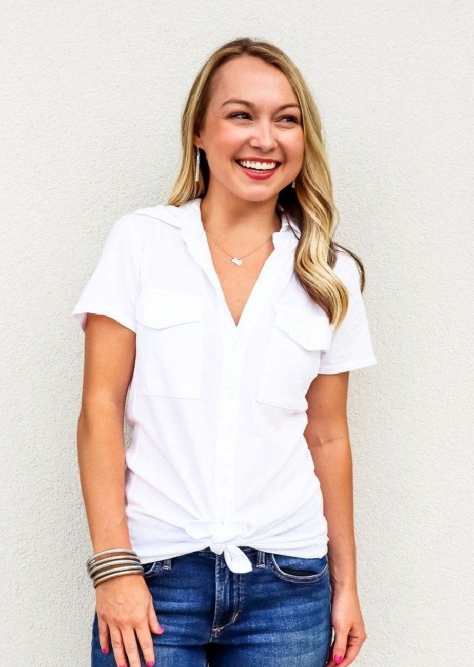 Bobi Short Sleeve Button Shirt White - Gabrielle's Biloxi