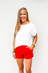 Linen Shorts Red - Gabrielle's Biloxi