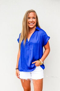 Sapphire Half Placket Short Sleeve Top - Gabrielle's Biloxi