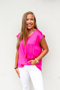Pink Twisted Drop Shoulder Blouse - Gabrielle's Biloxi