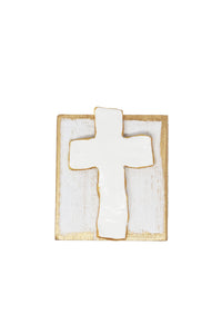 "White Clay Cross Wood Block 4""x4"" - Gabrielle's Biloxi"