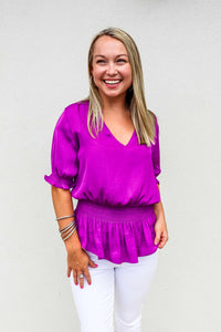 Smocked Short Sleeve Top Mulberry - Gabrielle's Biloxi