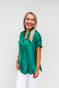 Drop Shoulder Top Green - Gabrielle's Biloxi