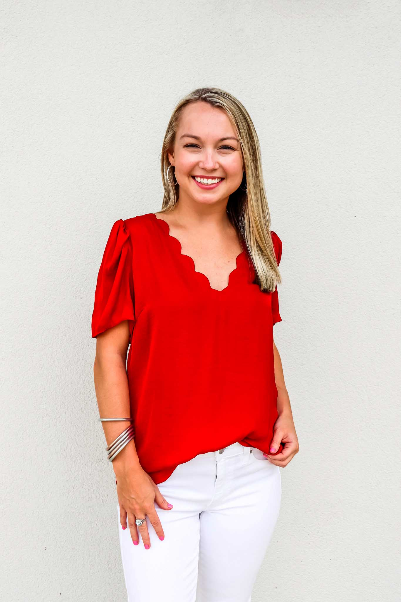 Scalloped Puff Sleeve Top - Gabrielle's Biloxi