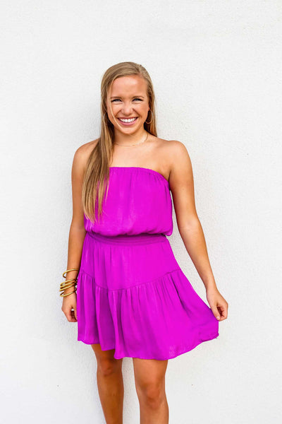 Mini Tiered Strapless Smocked Dress - Gabrielle's Biloxi