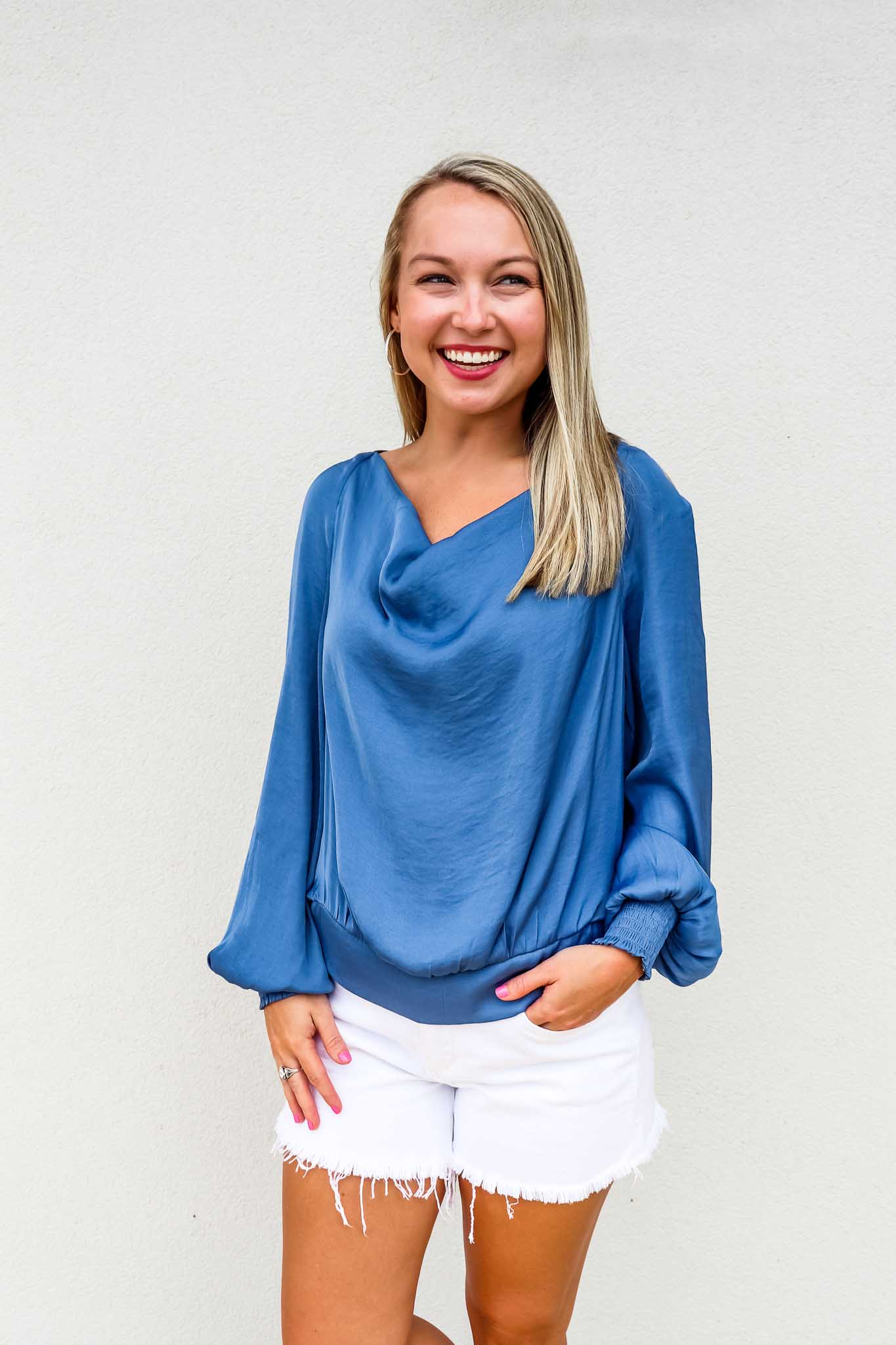 Raglan Sleeve Cowl Neck Top - Gabrielle's Biloxi