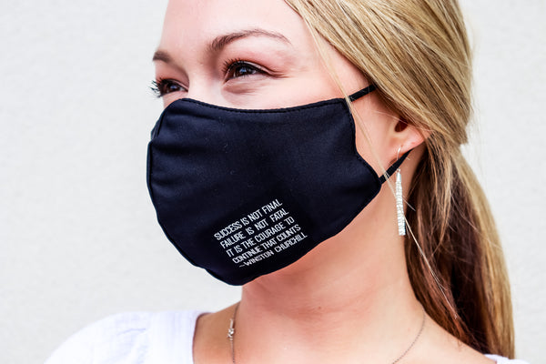 PJ Harlow Women's Face Mask - Success is Not Final Quote - Gabrielle's Biloxi