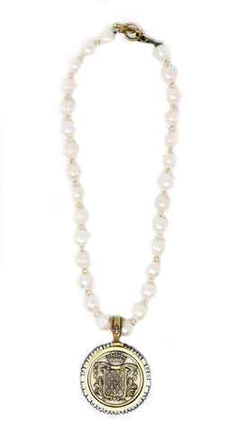 French Kande Pearls With Mont Joye Medallion - Gabrielle's Biloxi
