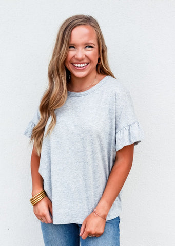 Bobi Heather Grey Ruffle Sleeve Tee
