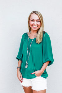 VNeck Raglan Sleeve Shirred Top Green - Gabrielle's Biloxi