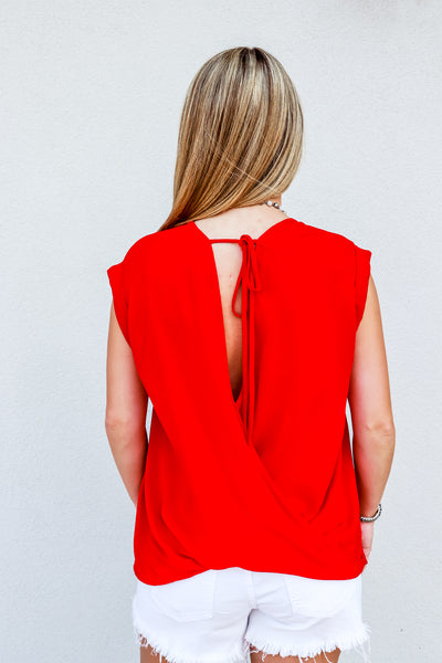 Drop Shoulder Spaghetti Back Tie Red