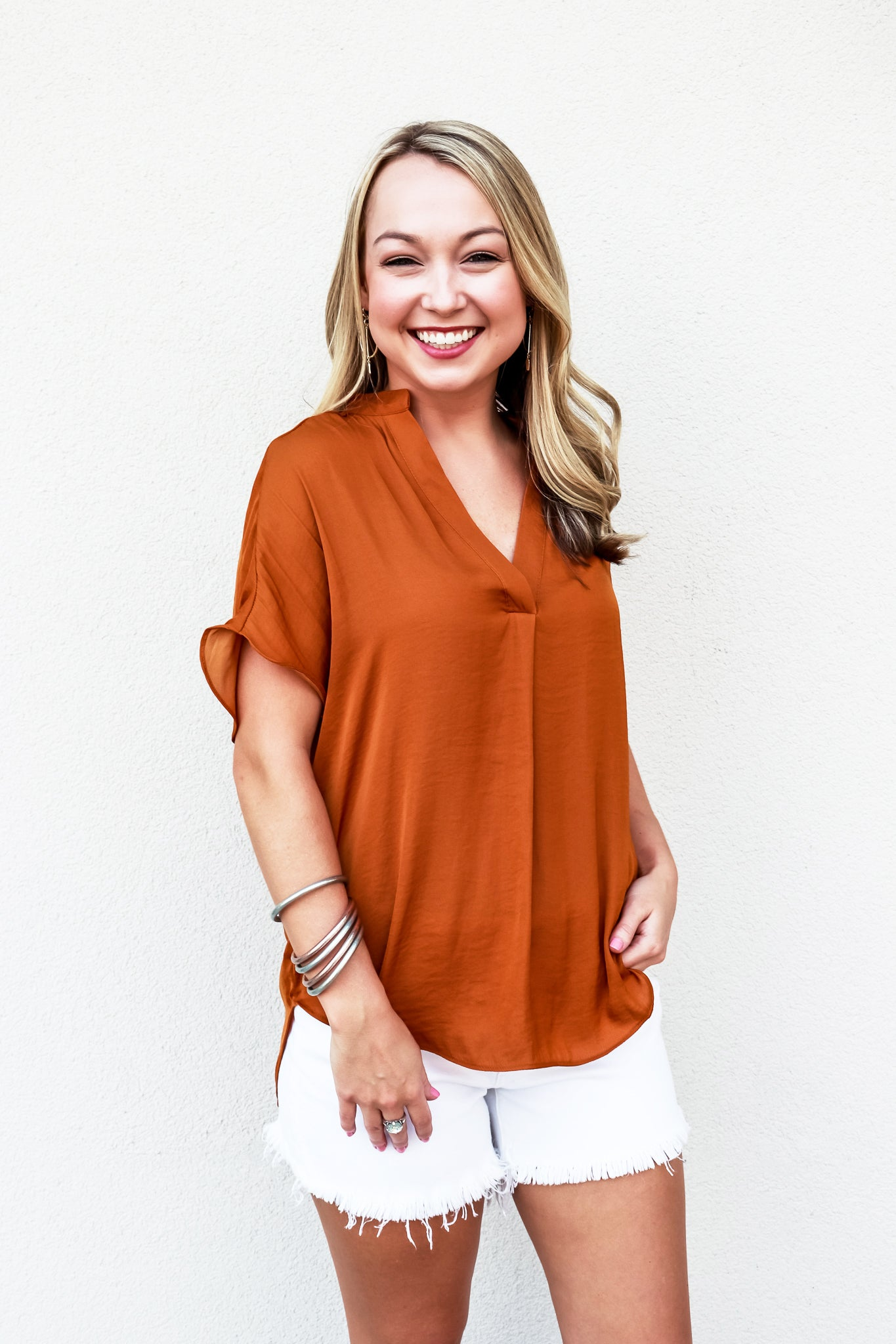 Drop Shoulder Blouse - Ginger