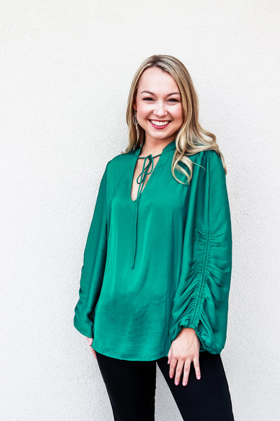 Long Sleeve Ruched Sleeve Top Green - Gabrielle's Biloxi