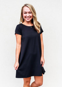 Susana Monaco Short Sleeve Tied Back Dress Black - Gabrielle's Biloxi