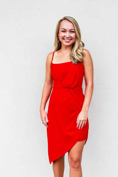 Susana Monaco Thin Strap Side Twist Dress Perfect Red - Gabrielle's Biloxi