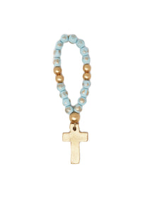 Blue Baby Blessing Beads with Cross