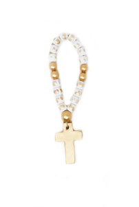 White Baby Blessing Beads with Cross