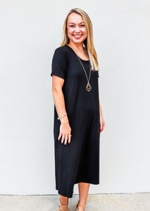 Maxi Dress with Side Slits Black