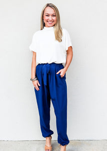 Jogger With Front Tie Navy - Gabrielle's Biloxi