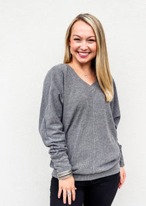 Bobi High Low Dolman Top Charcoal