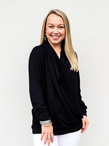 Bobi Long Sleeve Draped Top Black