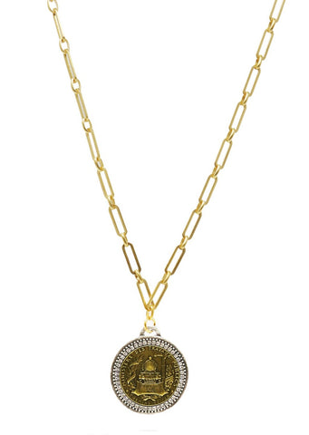 French Kande Gold Versailles Chain with Bocque Medallion and Swarovski - Gabrielle's Biloxi