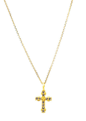 French Kande Champagne Chain Cross Necklace - Gabrielle's Biloxi
