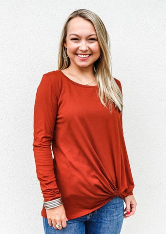 Bobi Long Sleeve Knot Tee Copper